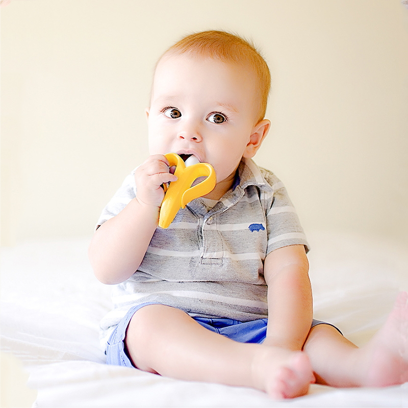Купить с кэшбэком Silicone Teether Baby Teething Toys Banana Teether Infant Oral Care Toothbrush Chewing Toy Fruit Teethers High Quality And Safe
