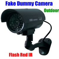 CCTV false Emulational Outdoor Fake Dummy Security Camera cam waterproof Decoy IR Wireless Blinking Flashing Red Led