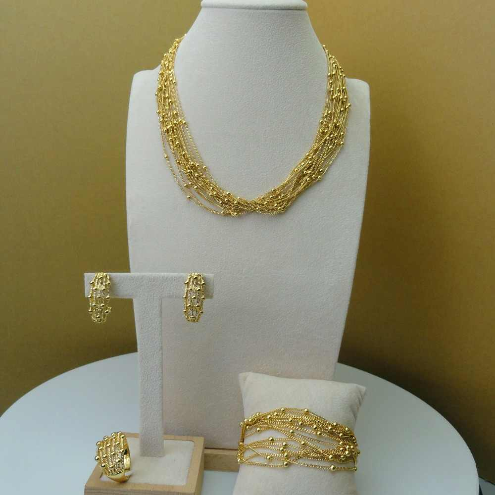 Yuminglai Italian Gold Jewelry 24K Dubai Costume Jewelry  Fine Jewelry Sets FHK5807