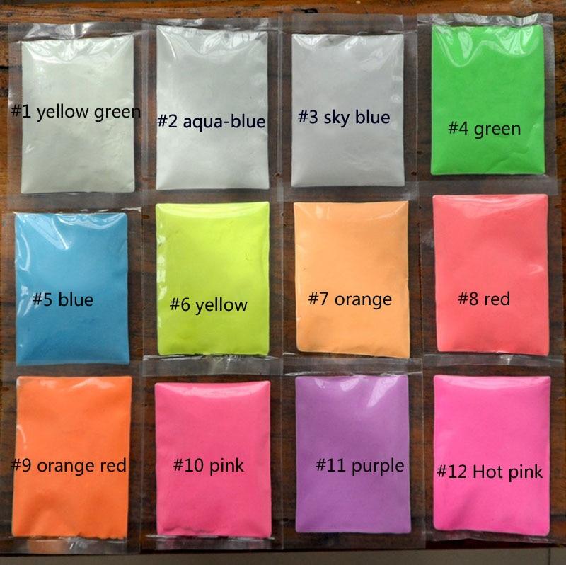Pigment Luminescent-Powder Glow-In-The-Dark 12-Colors 10g High-Brightness