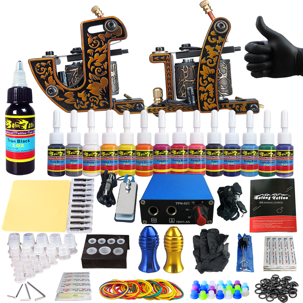 Solong Tattoo Complete Tattoo Kits 2 Machine Gun Beginner Tattoo Set 14 Inks Needle Grips Foot Petal Power Supply TK203-30Solong Tattoo Complete Tattoo Kits 2 Machine Gun Beginner Tattoo Set 14 Inks Needle Grips Foot Petal Power Supply TK203-30