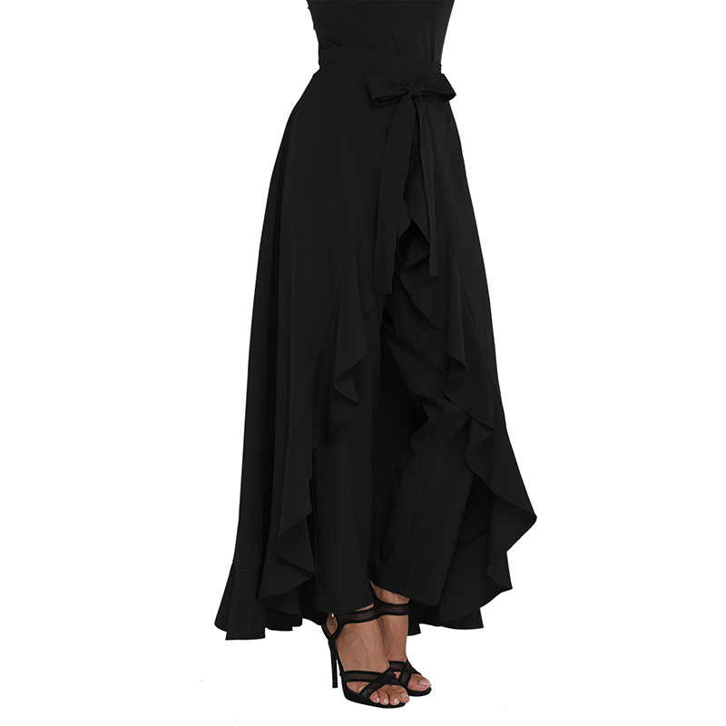 619a79b8b6 ... SEBOWEL 2019 Autumn Women's Chiffon Tie-Waist Split Ruffle Pants Skirt  Vintage Plus Size Asymmetric ...
