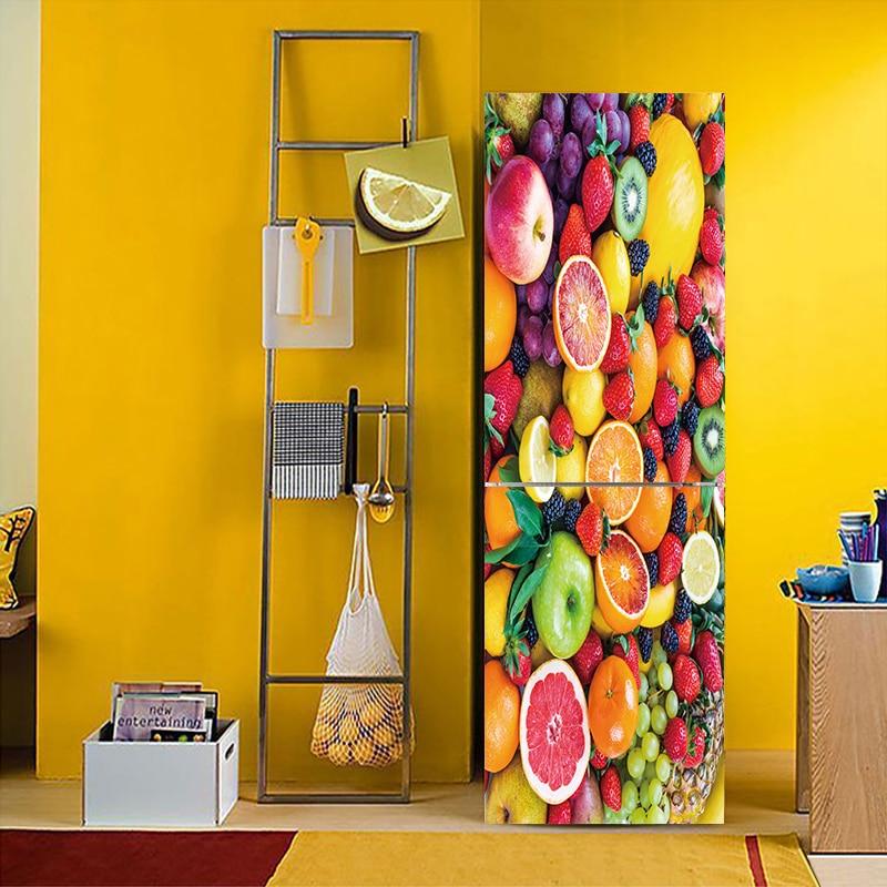 YBX025  A variety of Fruit vegetable Pattern Fridge Sticker PVC Refrigerator Door Kitchen Self-adhesive Wall Stickers DecorYBX025  A variety of Fruit vegetable Pattern Fridge Sticker PVC Refrigerator Door Kitchen Self-adhesive Wall Stickers Decor