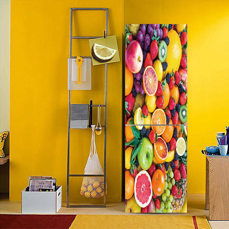 YBX025 A variety of Fruit vegetable Pattern Fridge Sticker PVC Refrigerator Door Kitchen Self-adhesive Wall Stickers Decor