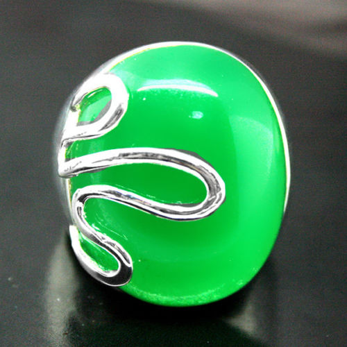 157fd7b402f00 Gorąca sprzedaż W nowym Stylu>>>> Moda 12X21 MM Zielony kamień Klejnot 925  Sterling Srebrny Pierścień 8/9/7