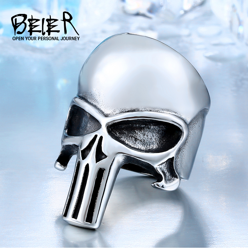 BEIER Drop Shipping 2018 Ny Cool Rostfritt Stål Fashion Punisher Skull Ring Punk Unqiue Smycken För Män Gratis Frakt BR8-407
