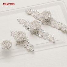 KK& FING Европейский Lvory белый цветок розы кухонный шкаф ручки шкаф дверные ручки для выдвижных ящиков мебельная фурнитура