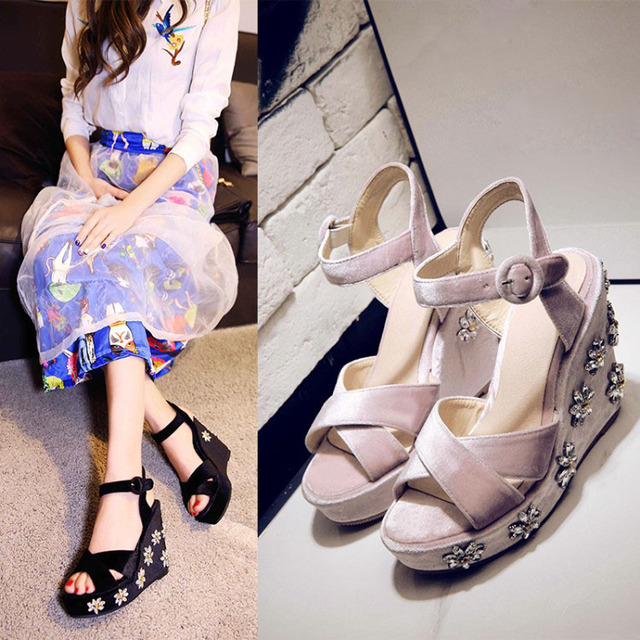 Summer women wedge sandals pink and black platform sandals slingbcks shoes  rhinestone flower sandals fashion party suede shoes 58aff4b649a8