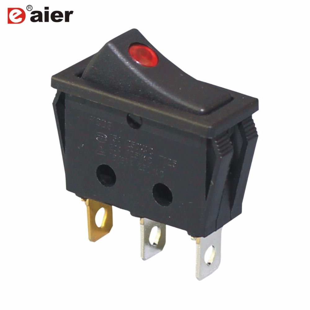 High Quality Kcd3 Black Rocker Switch On Off 3 Pin Latching Spst 15a Details About Push Button 3a 250v 1 Circuit Amps 250vac 12 Volt Dot Led For Motor Car Auto Switches Red In From Lights