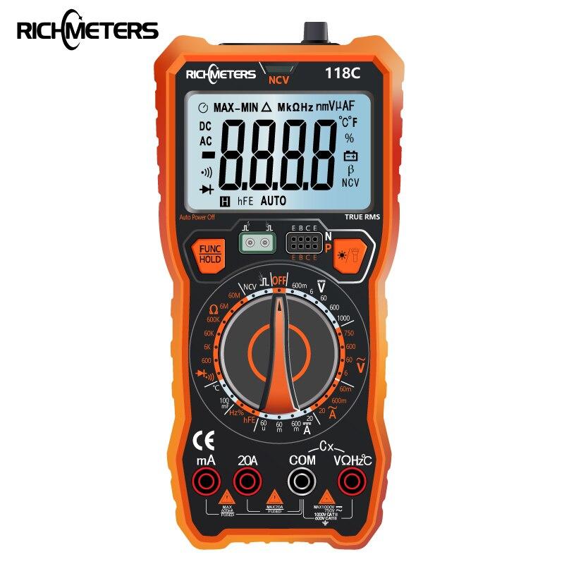 RICHMETERS 118C 20A Multimetro Digitale 6000 Conta NCV HFE True-RMS 100mF capacità Magnete AC/DC Tensione Corrente temperatura