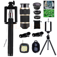 Phone lens Kit 8X Telescopic Zoom Lenses Wide Angle Macro Fish eye Lentes Tripod For iPhone 4 5 6 7 Plus Smartphone Selfie lamp