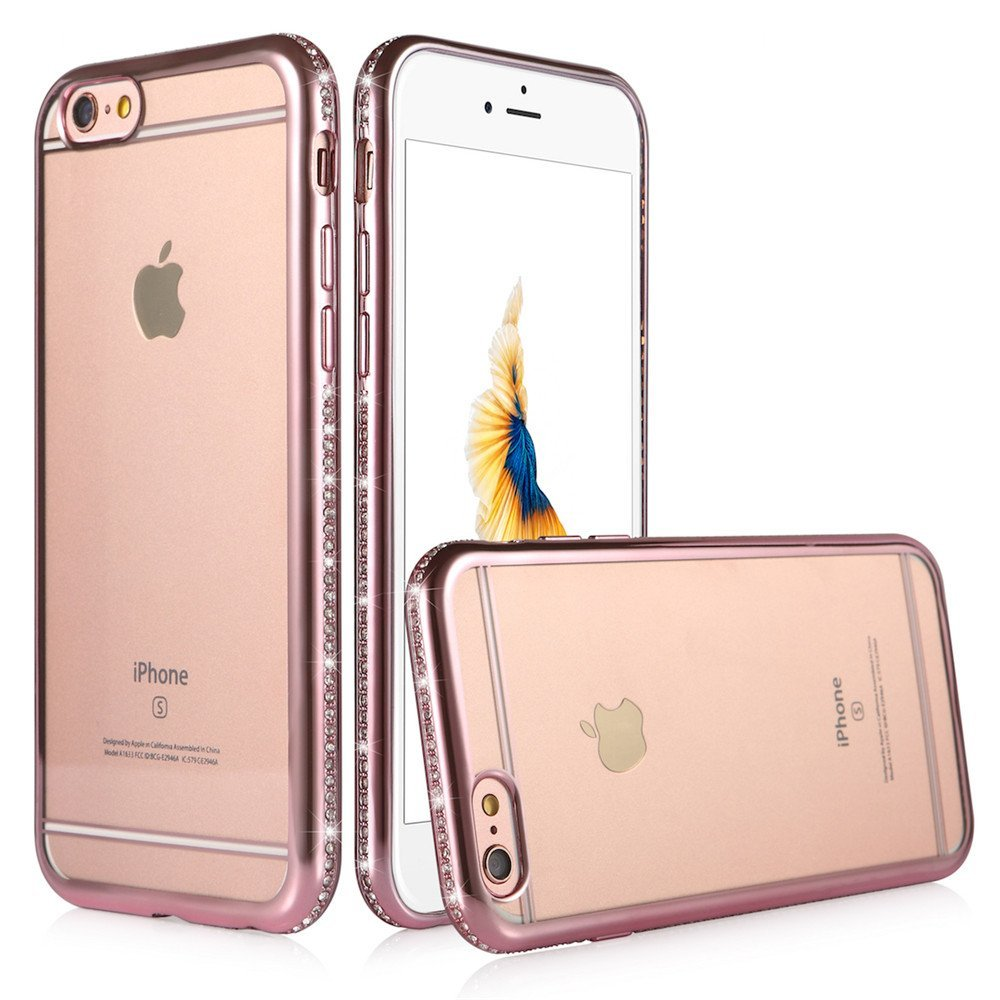 03e41c13116cfb Portefeuille For Rose Gold Case Iphone 6 Protective Back Cover Bling Diamond  Bumper Glitter Crystal Frame for Fundas Iphone 6 6S-in Rhinestone Cases from  ...