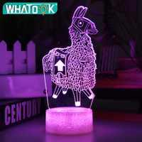 Nueva lámpara 3D Alpaca Llama luz nocturna estado de ánimo 7/16 Luz de cambio de color Base de grietas para juguetes para regalo de cumpleaños luces nocturnas para niños