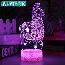 Nueva lámpara 3D Alpaca Llama luz nocturna estado de ánimo 7/16 Luz de cambio de Color grieta Base para juguetes para regalo de cumpleaños luces nocturnas para niños