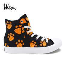 Wen Design Hand Painted Vulcanize Shoes Dog Paws Print High Top Black Canvas Sneakers Men Women Fashion Casual Plimsolls