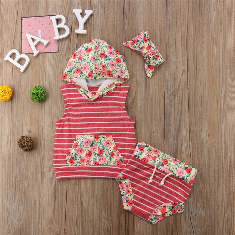 2Pcs Infant Baby Girl Boy Striped Clothes Set Hooded Sleeveless Tops T-Shirt Shorts Pants Outfits Cotton Baby Clothes 0-18M