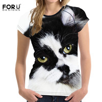 FORUDESIGNS New Arrivals Women Printed Customized Printing Short T Shirt Diy O Neck Black Cat Tops