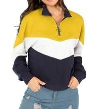 ZOGAA Campus Sweatshirts Pullover Women Top Multicolor Casual Zip Half Placket Color Block Stand Collar Long Sleeve Sweatshirts недорого
