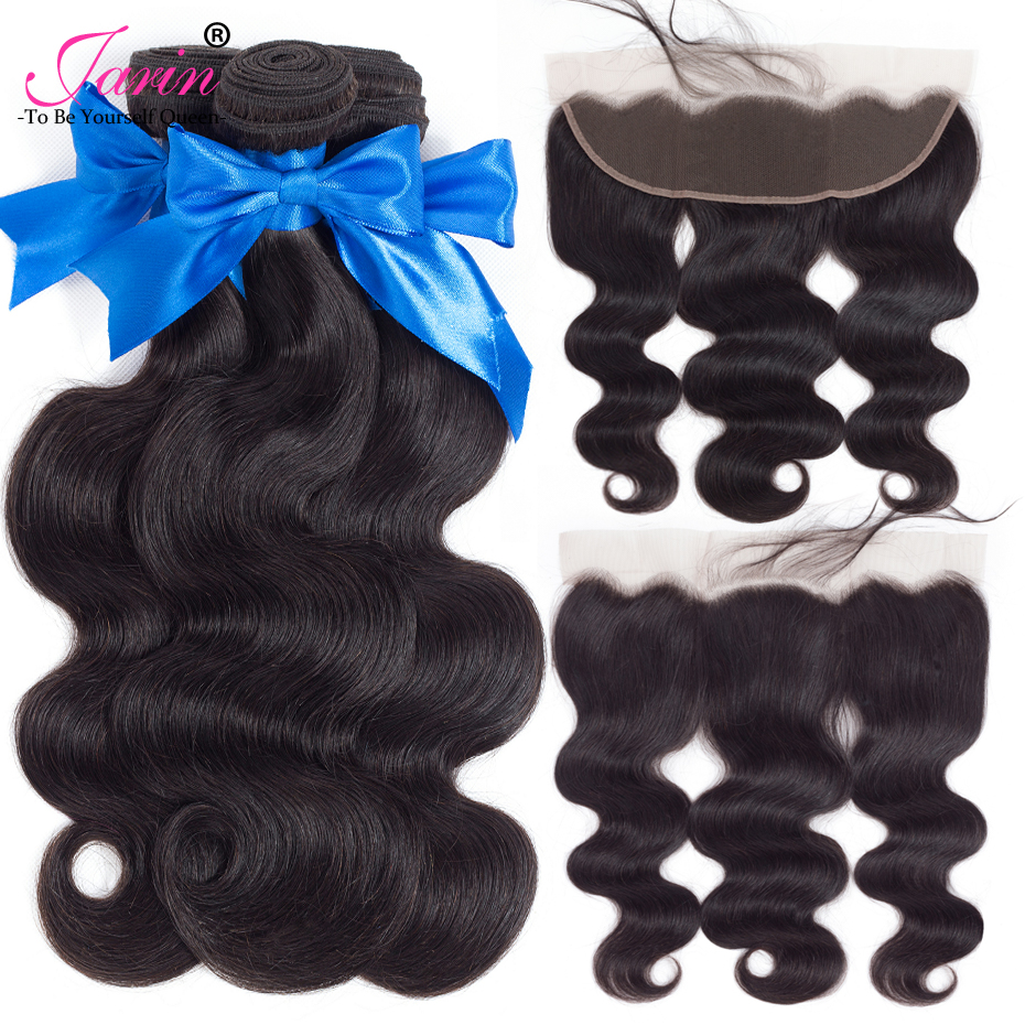JARIN Human Hair Brazilian Body Wave Hair 3 Bundles With Lace Frontal Closure Pre Plucked Line Free Part Natural Color Non Remy