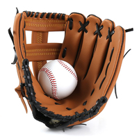 Baseball Glove PVC Leather Thick Size 10.5/11.5/12.5 Left Hand Brown for Outdoor Sports or Baseball Practice