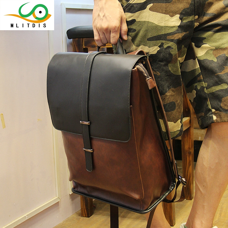 MLITDIS Casual Bags Male Backpack Travel Bag Backpacks Leather Backpack For Men School Shoulder Bag Backpacks Male Leather Men's large 14 15 inch notebook backpack men s travel backpack waterproof nylon school bags for teenagers casual shoulder male bag