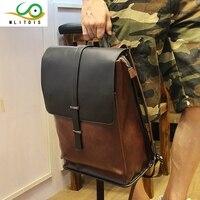 Korean Male Backpack Outdoor Travel Bag Genuine Horse Leather Students Backpack Fashion Men Shoulder Bags Simple