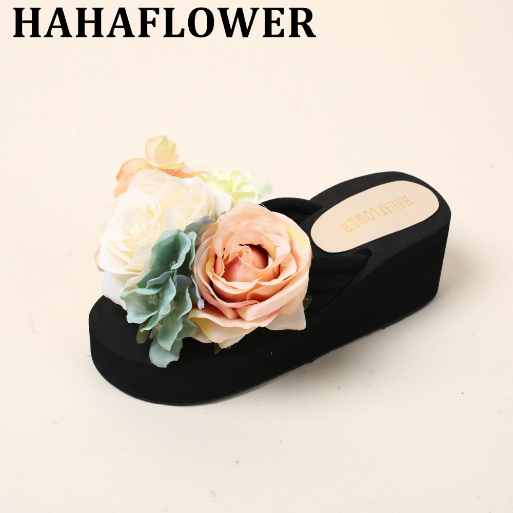 HAHAFLOWER Summer Lady Sandals Colorful Summer Beach Shoes Women Flats Slip On Fashion Female Footwears Size 35-41