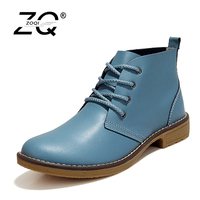 ZOQI 2017 Genuine Leather Women Motorcycle Ankle Boots Female Lace Up Low Heels Platform Autumn Winter