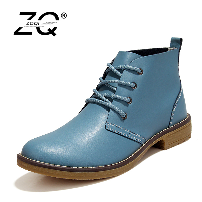 ZOQI Genuine Leather Boots Women Shoes Motorcycle Ankle Boots For Women Platform Autumn Winter Boots Women Size 35-42 autumn and winter new personality retro cowhide ankle boots handsome female waterproof platform genuine leather women shoes 9731
