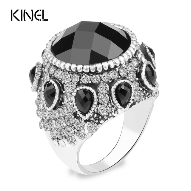 Kinel Vintage Jewelry 2016 New Bohemia Punk Black Big Ring Silver