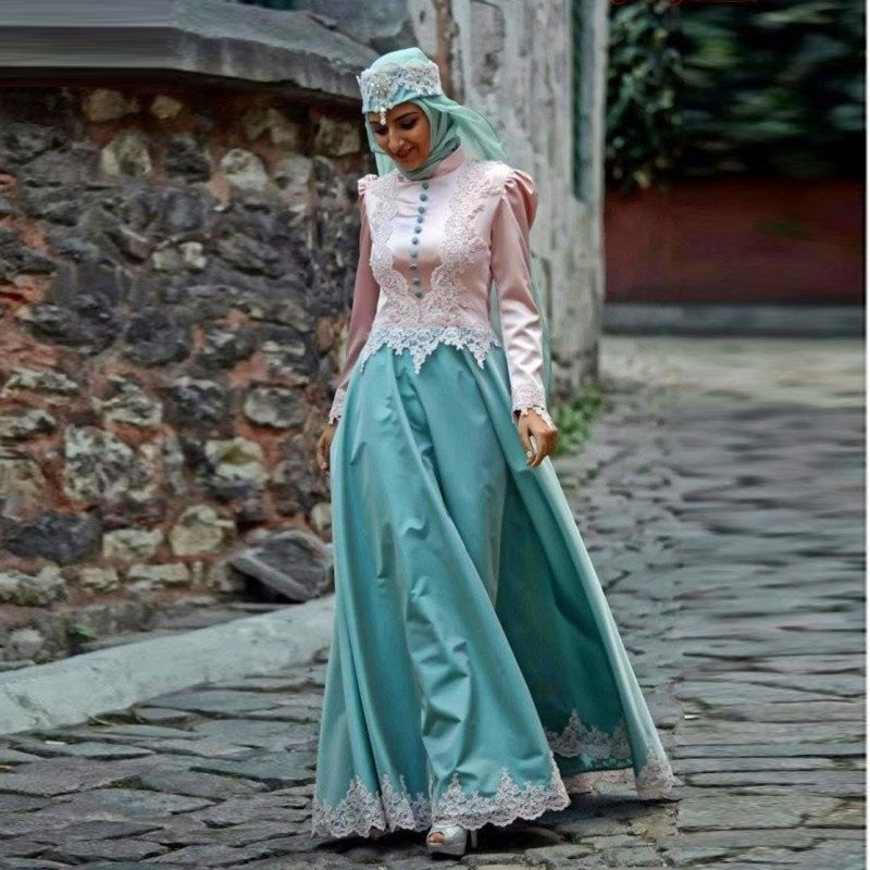 Formal Muslim Evening Dresses 2017 Islamic Abayas Appliques Long Sleeve Arabic Kaftan with font b Hijab