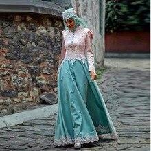 Formal Muslim Evening Dresses 2017 Islamic Abayas Appliques Long Sleeve Arabic Kaftan with Hijab Abendkleider