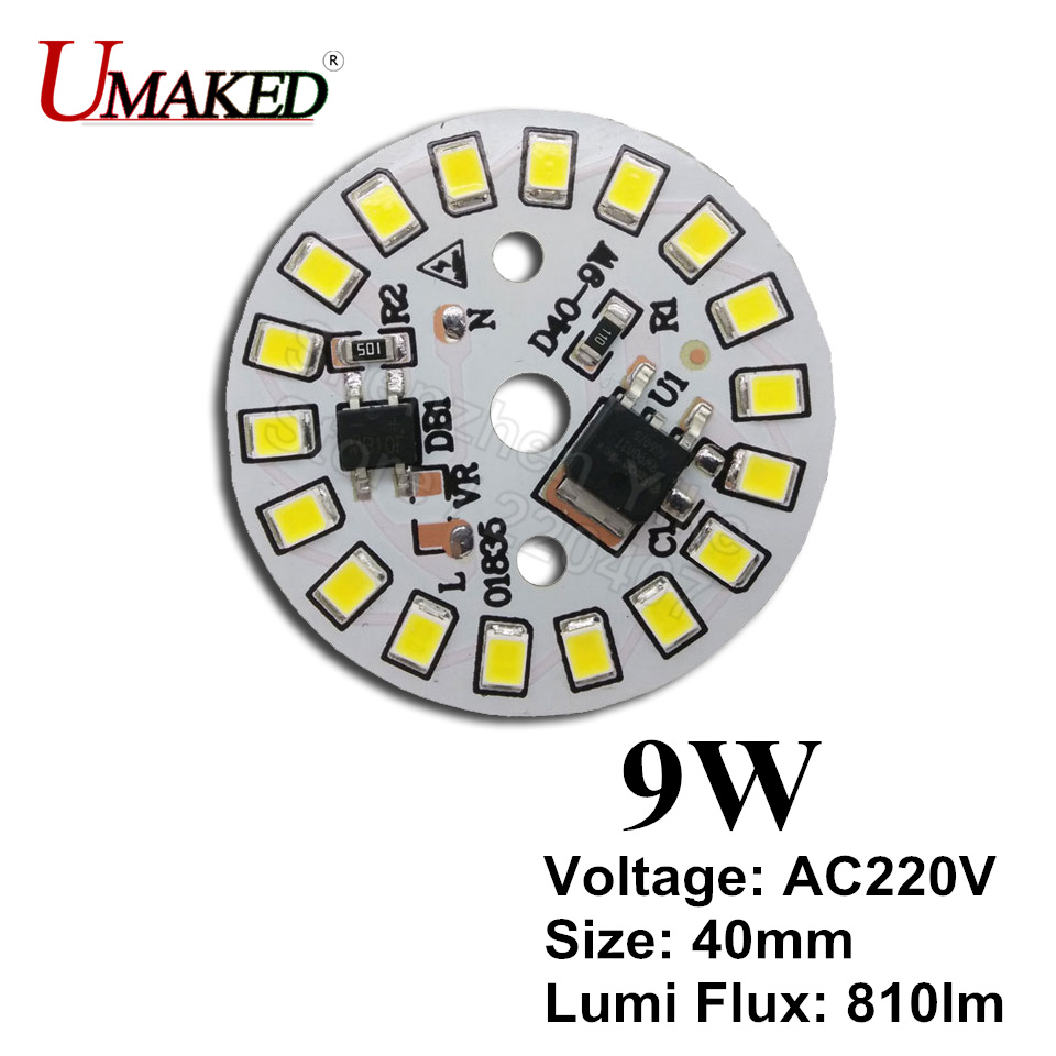9W 40mm 810lm AC 220v led pcb with integrated IC driver for bulb light, Warm white/ white driverless aluminum plate board 348lm white bulb plate for flashlight white