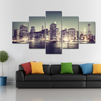 5 Panel Urban Landscape Wall Art Canvas Painting Beautiful Night View Print Picture For Living Room