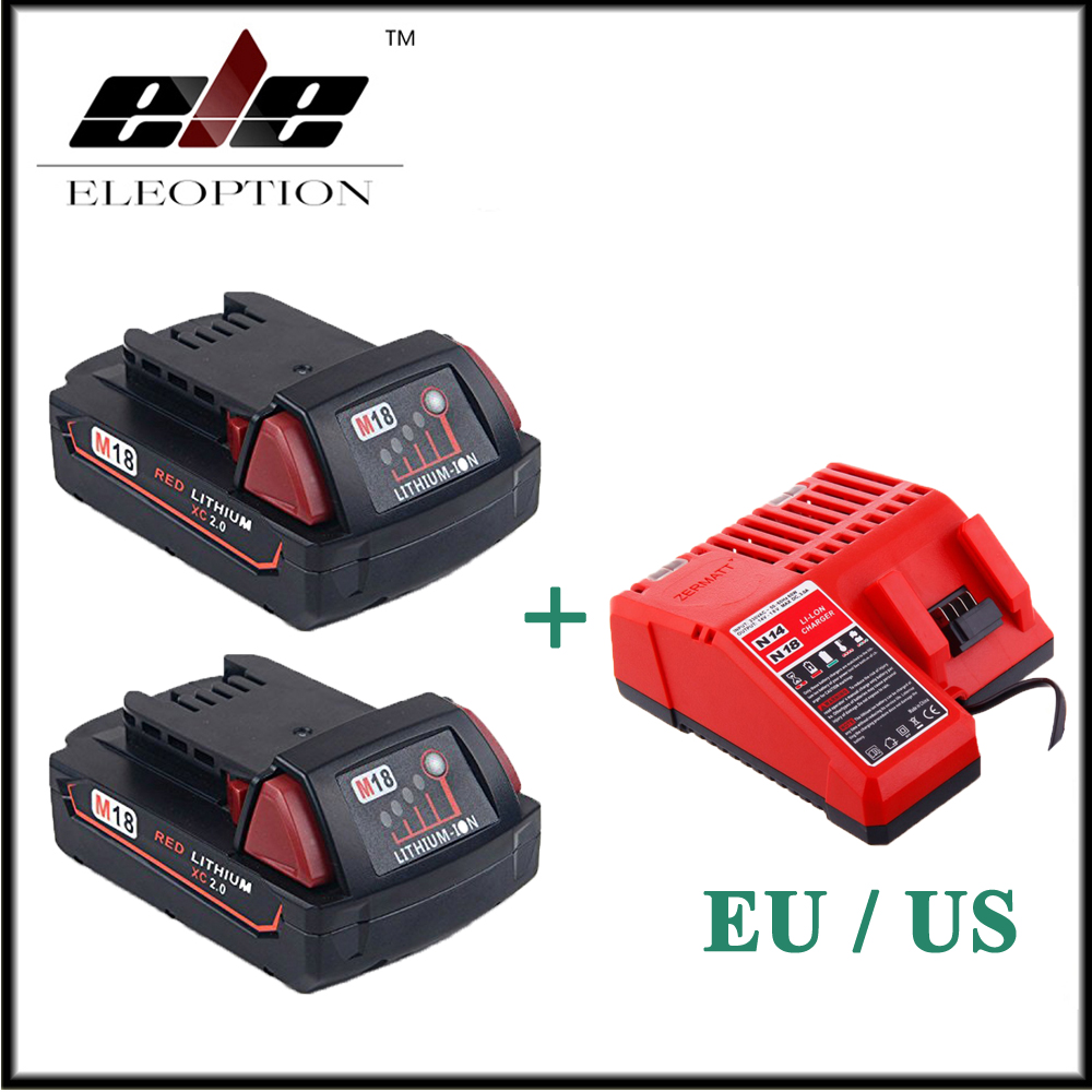 2x Eleoption 2000mAh 18V Li-Ion Replacement Battery for Milwaukee M18 XC 48-11-1820 M18B2 M18B4 M18BX With One Charger eleoption 2pcs 18v 3000mah li ion power tools battery for hitachi drill bcl1815 bcl1830 ebm1830 327730