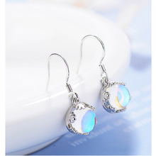 Vintage Moonstone Korean Short Hook Leaf-prong Setting Pendant Drop Earrings For Women  Artificial Gem Jewelry