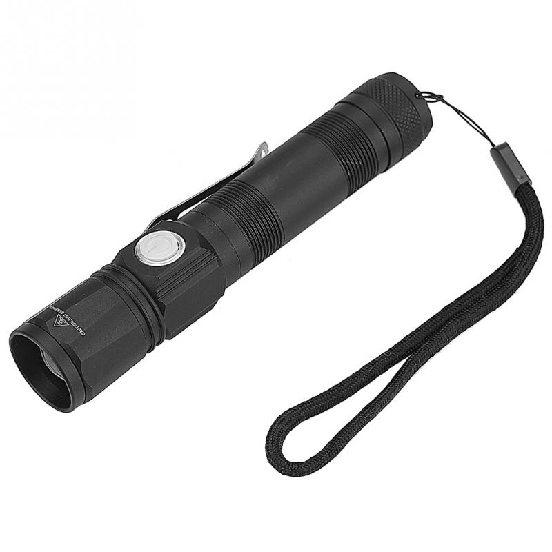 Portable T6 LED Flashlight LED 18650 Torch Flashlight Pocket Small Camping Light Waterproof Telescopic Zoom 3 Modes Torch