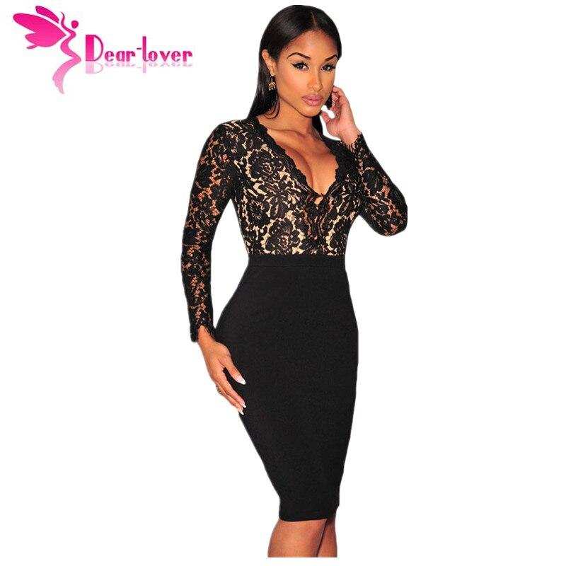 Dear Lover Vestido De Renda Women Dresses Winter Party Black Lace Nude  Illusion Long Sleeves Bodycon Dress robes femmes LC60797 - TakoFashion -  Women s ... 4bb3bd31523c