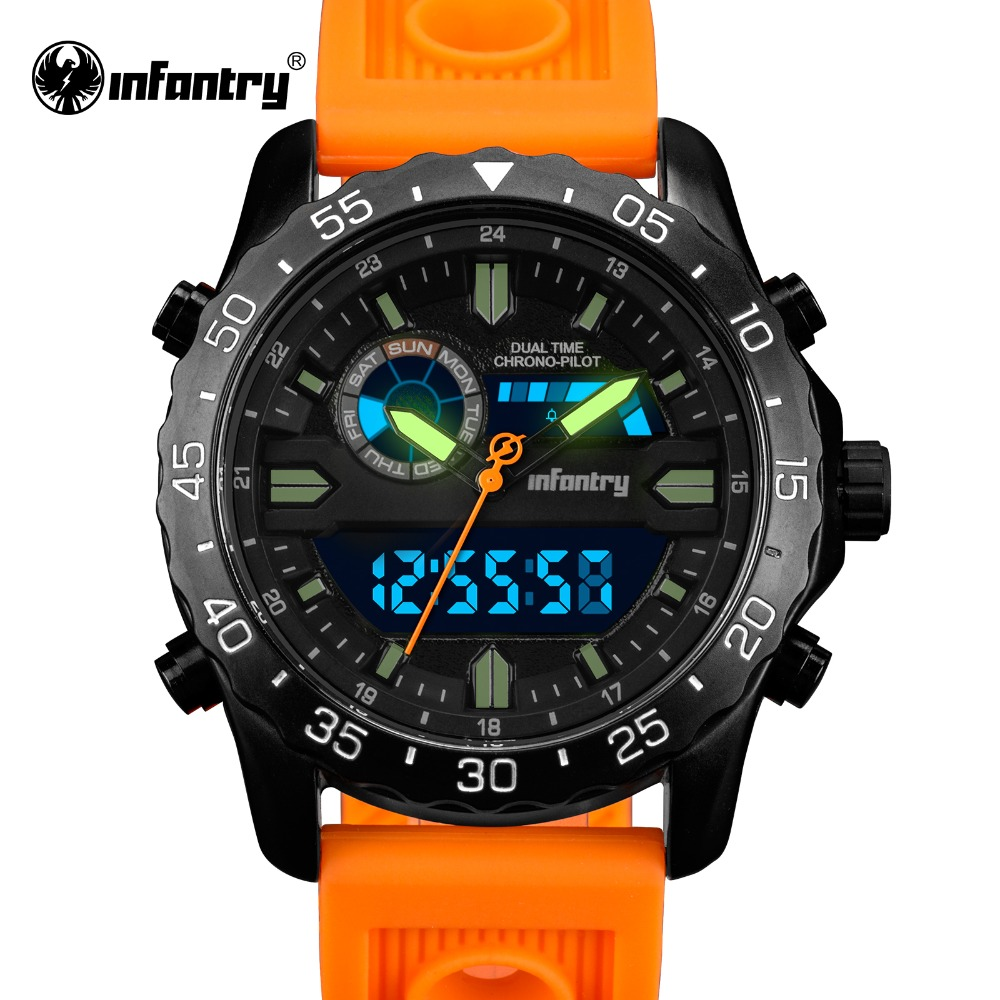 INFANTRY Military Watch Men Digital LED Wristwatch Mens Watches Top Brand Army Tactical Sport Silicone Clock Relogio Masculino infantry military watch men square digital led wristwatch mens watches top brand tactical army sport nylon relogio masculino