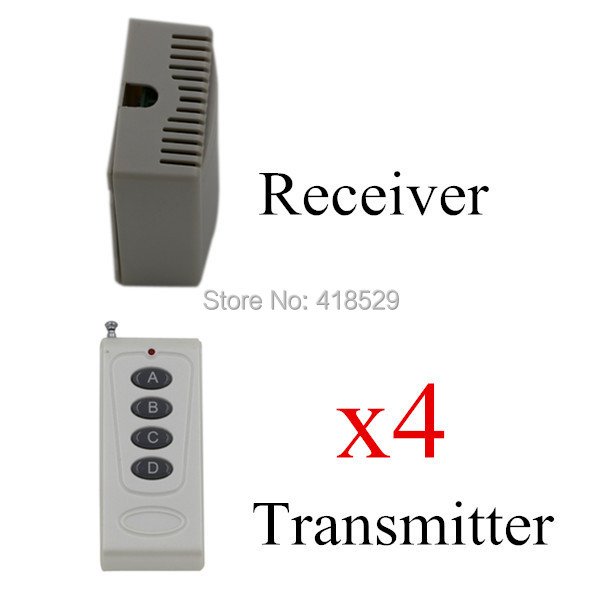 remote control 433/315 mhz, 4 transmitter and 1 receiver,DC 12V 4 CH RF Wireless Remote Control Switch System SKU: 5038