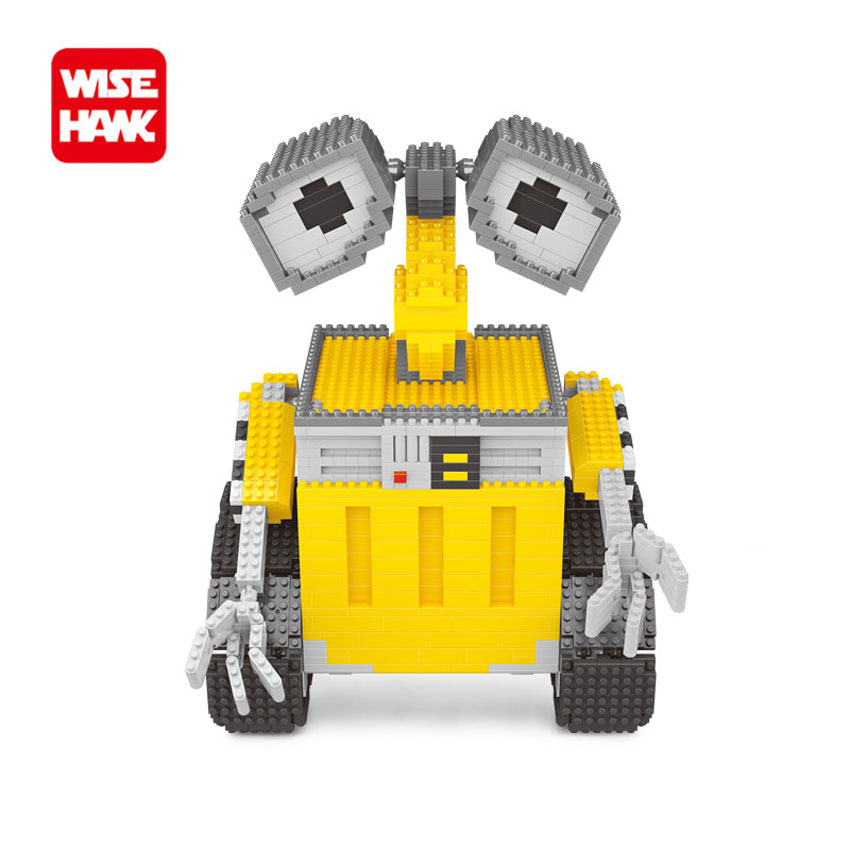 WiseHawk Funny Robot WALL-E Nanoblocks Toys Hot Selling Plastic Puzzle Model American Anime Creative Miniature Building Bricks