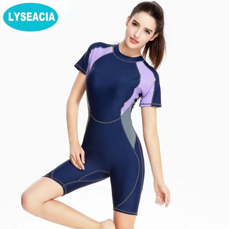 LYSEACIA 2017 Female Swim Training Wear Short Sleeve Rashguard Women's Swimsuit Women O-Neck Sports Suit Long One-Piece Swimwear rashguard mergulho rashguard a808