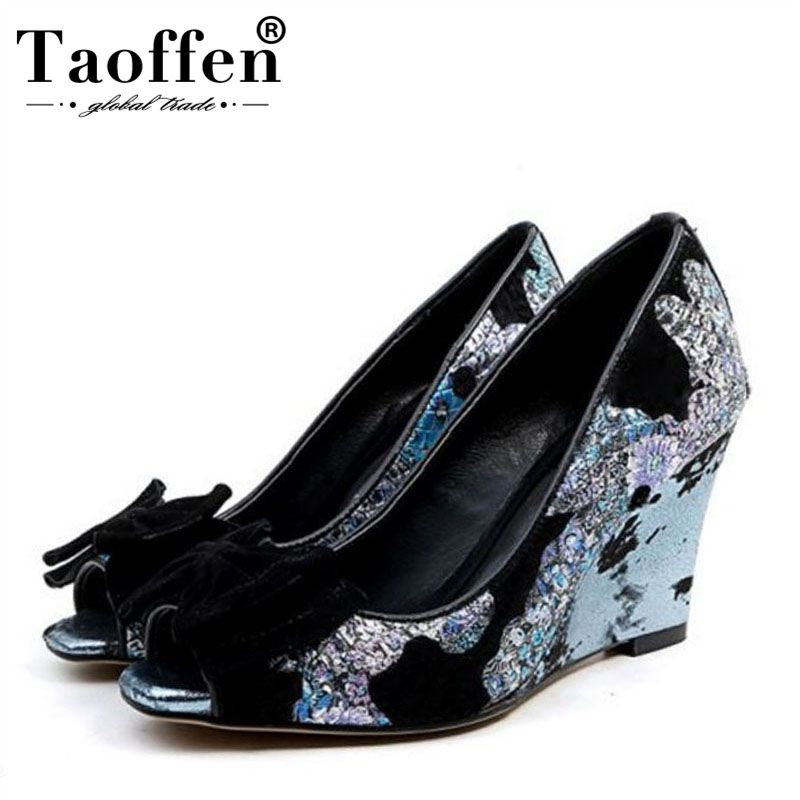 Taoffen Women Vintage High Heel Shoes Peep Toe Embroidery Bowtie Wedges Pumps Summer Party Wedding Shoes Women Size 33-43Taoffen Women Vintage High Heel Shoes Peep Toe Embroidery Bowtie Wedges Pumps Summer Party Wedding Shoes Women Size 33-43