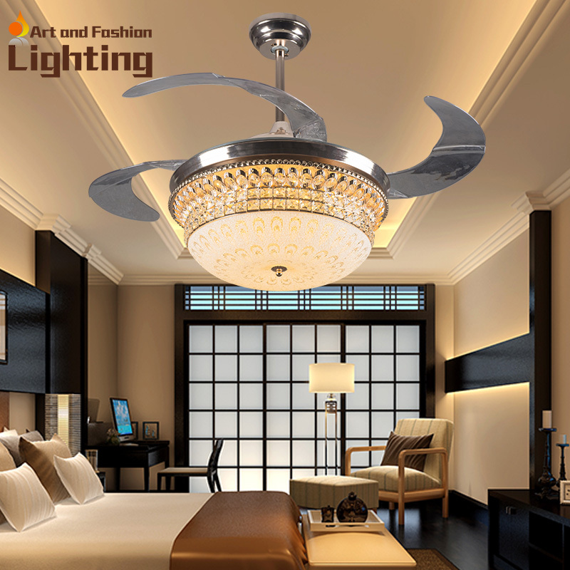 luxury k9 crystal ceiling fan lights 4 invisible acrylic blades top grade modern ceiling fans 42