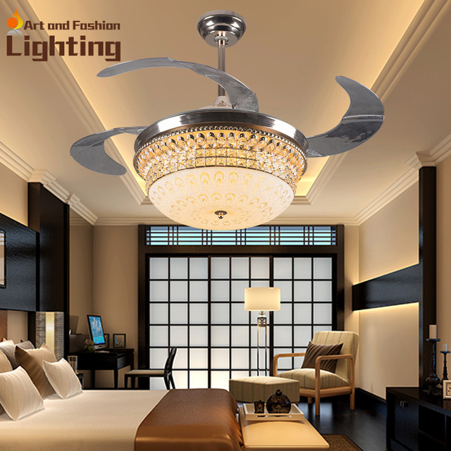 Luxury k9 crystal ceiling fan lights 4 invisible acrylic blades top luxury k9 crystal ceiling fan lights 4 invisible acrylic blades top grade modern ceiling fans 42 aloadofball Image collections