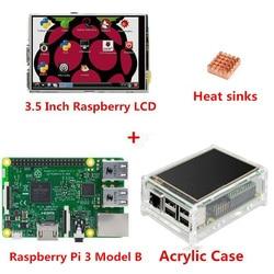 التوت بي 3 نموذج B المجلس 3.5 TFT التوت Pi3 LCD شاشة تعمل باللمس + الاكريليك بالوعة حرارة ل Raspberry Pi 3 Kit