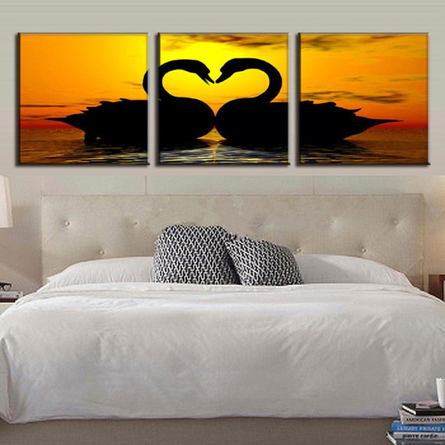 3 Panel Pictures Hand Painted Acrylic Paintings Bedroom Wall Art Handmade Swans Oil Painting