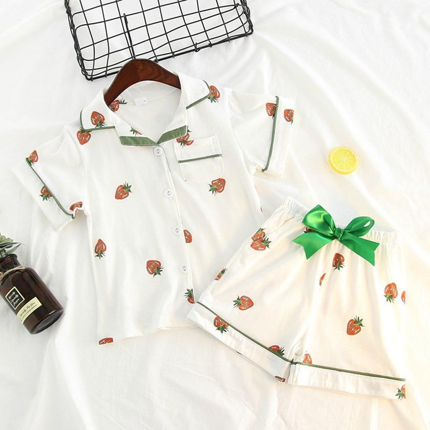 Summer Girls Pajamas Sets Home Clothes Strawberry Print