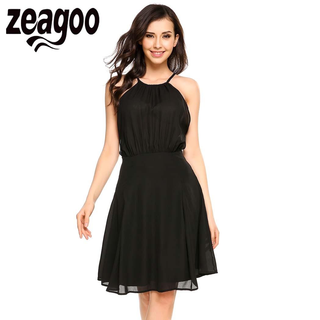 Zeagoo Women Halter Sleeveless Open Back Solid Casual ...