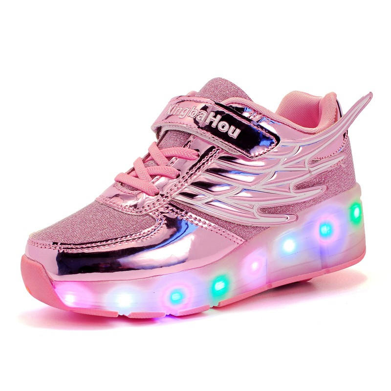NEW Children Wheel Shoes Fashion With Wing LED Lamp Breathable Boy & Girls Sport Casual Shoes Breathable Kids Fashion skate